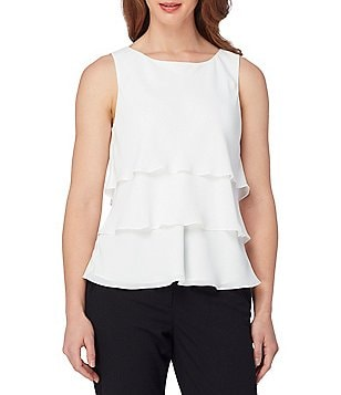 Tahari ASL Round Neck Sleeveless Tiered Solid Georgette Top