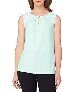 Tahari ASL Sleeveless Pleated Keyhole Knit Top