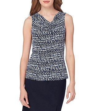 Tahari ASL Cowl-Neck Printed Knit Top