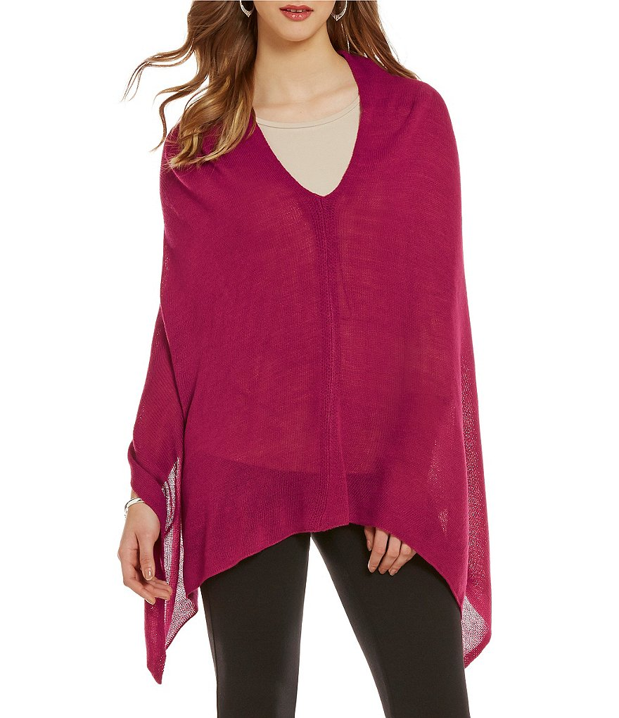 Investments Pullover Sleeveless Jeweled Neck Solid Poncho