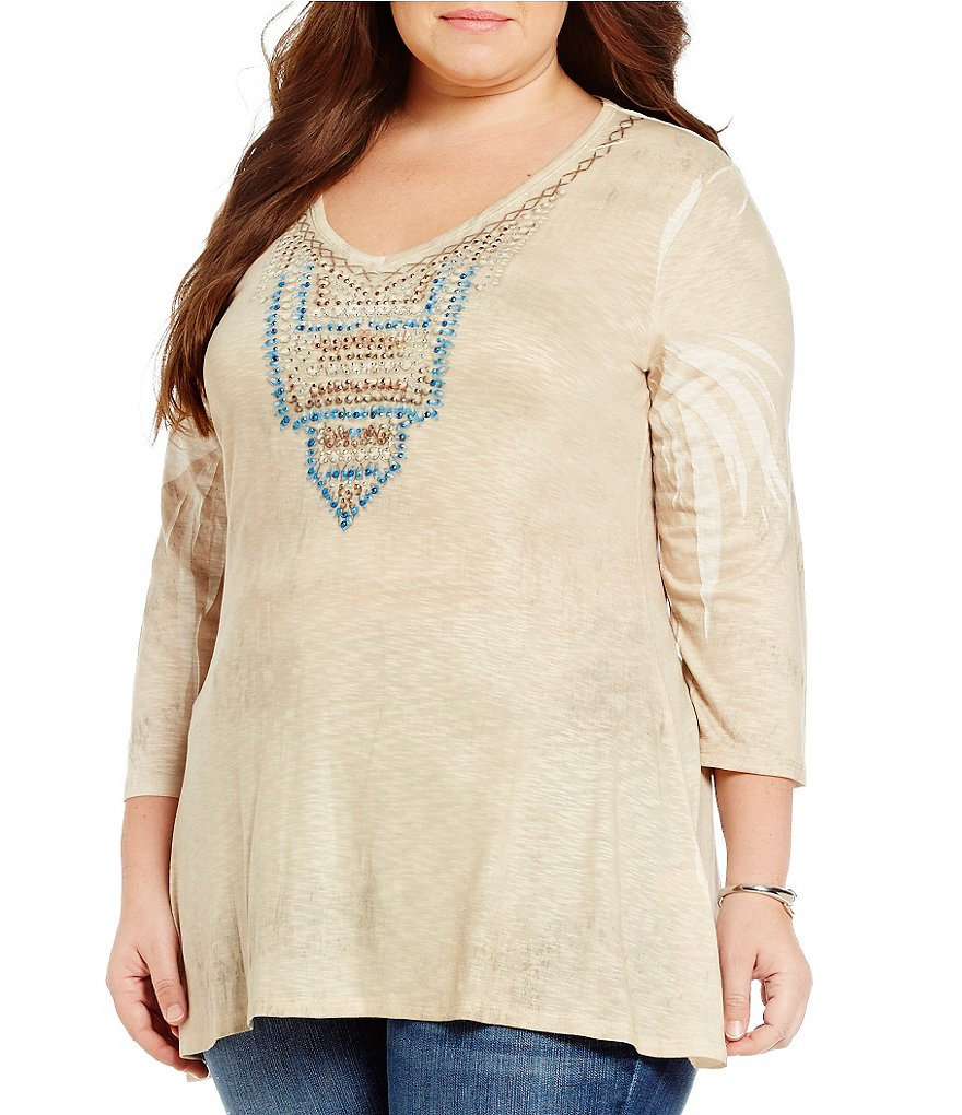Reba Plus 3/4 Sleeve Embellished V-Neck Print Top