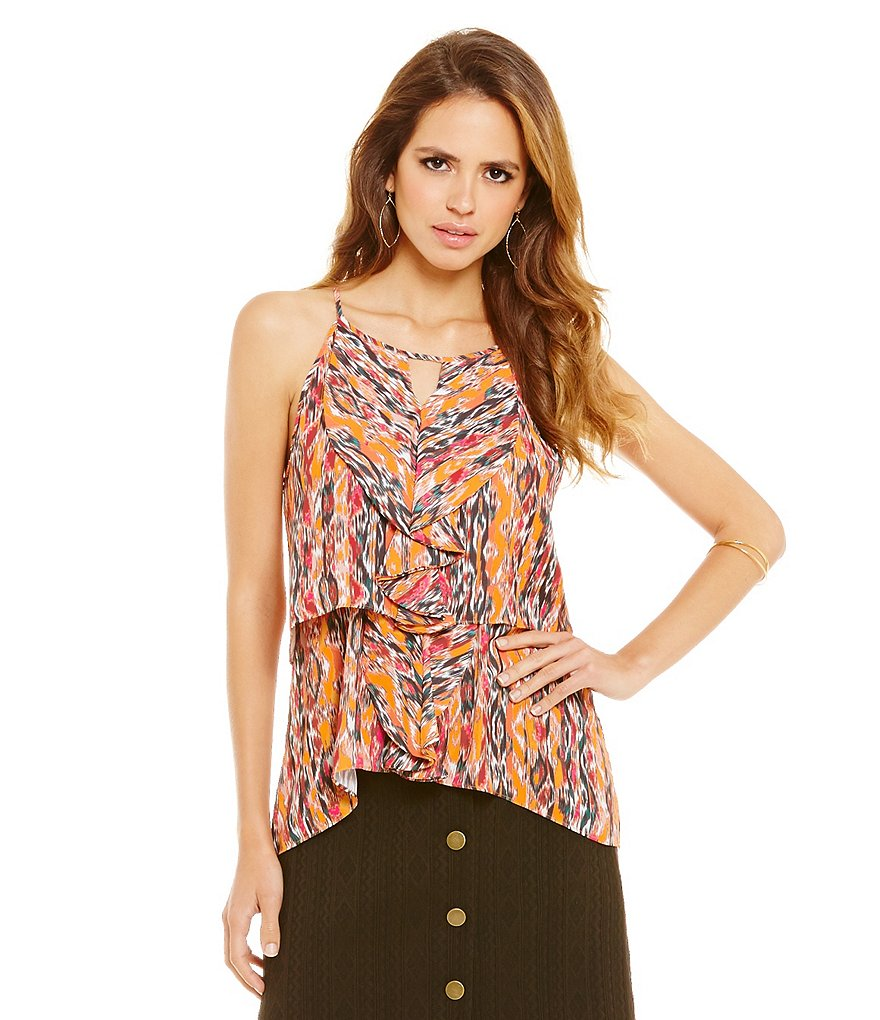 Gianni Bini Amy Printed Sleeveless Hi-Low Hem Bar-Neck Ruffle Blouse