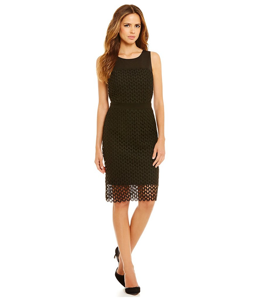 Gianni Bini Cady Lace Overlay Sleeveless Sheath Dress