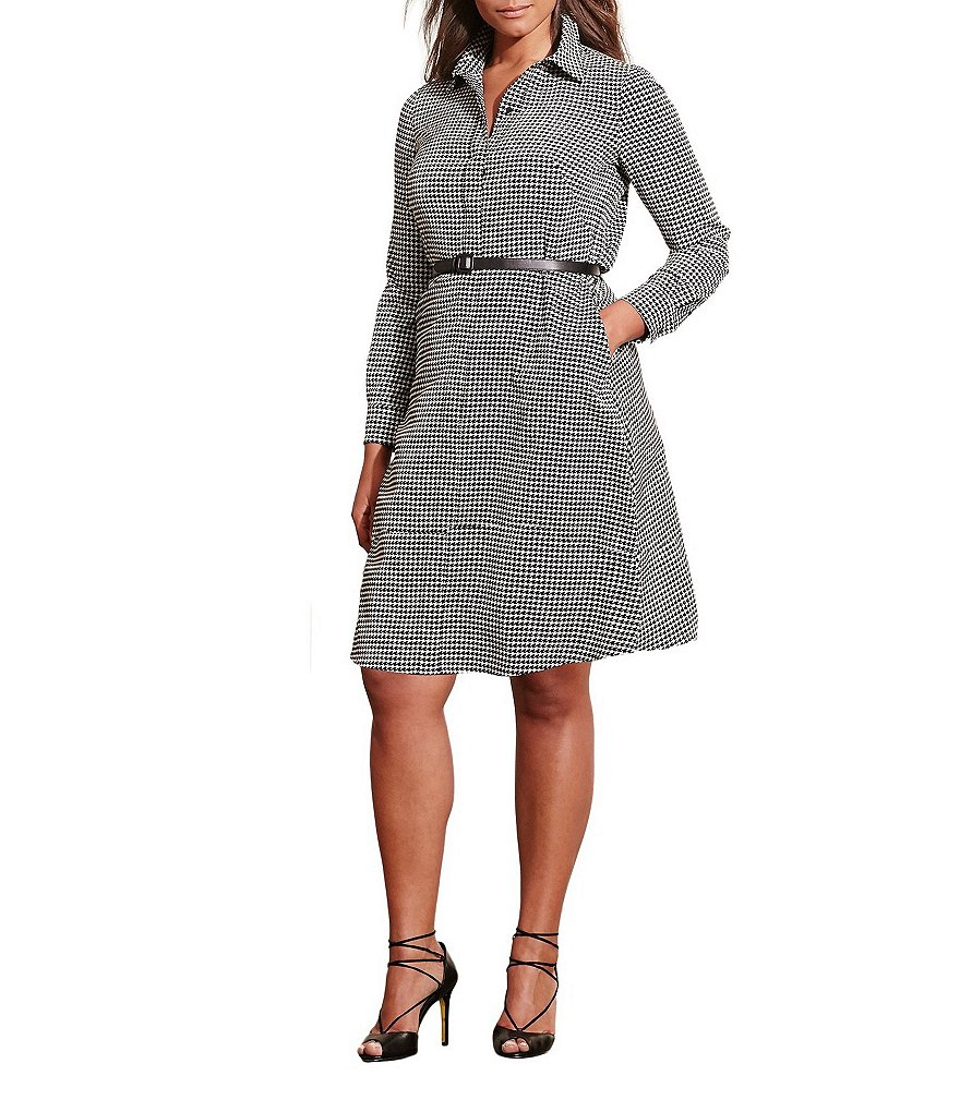 Lauren Ralph Lauren Plus Houndstooth Shirt Dress