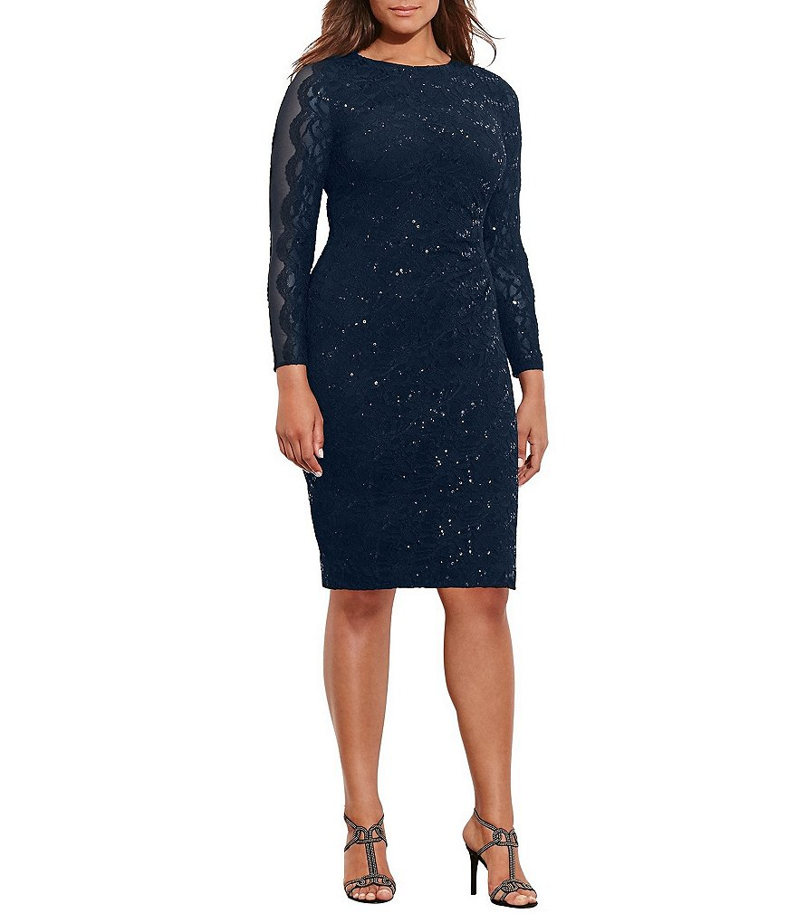 Lauren Ralph Lauren Plus Sequin Lace Sheath Dress