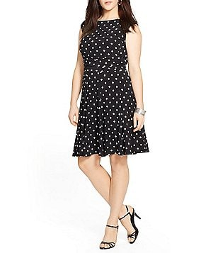 Lauren Ralph Lauren Plus Polka Dot Jersey Dress