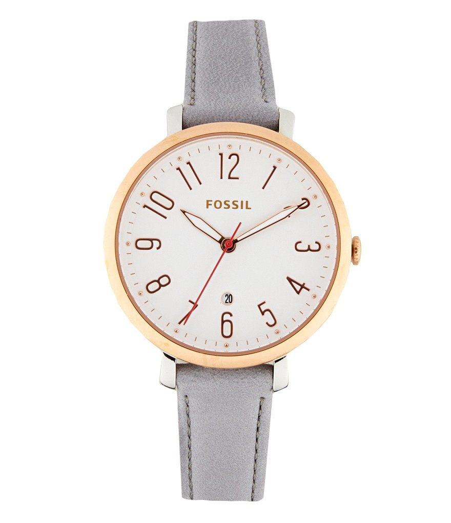 Fossil Jacqueline Three-Hand Date Leather Strap Watch