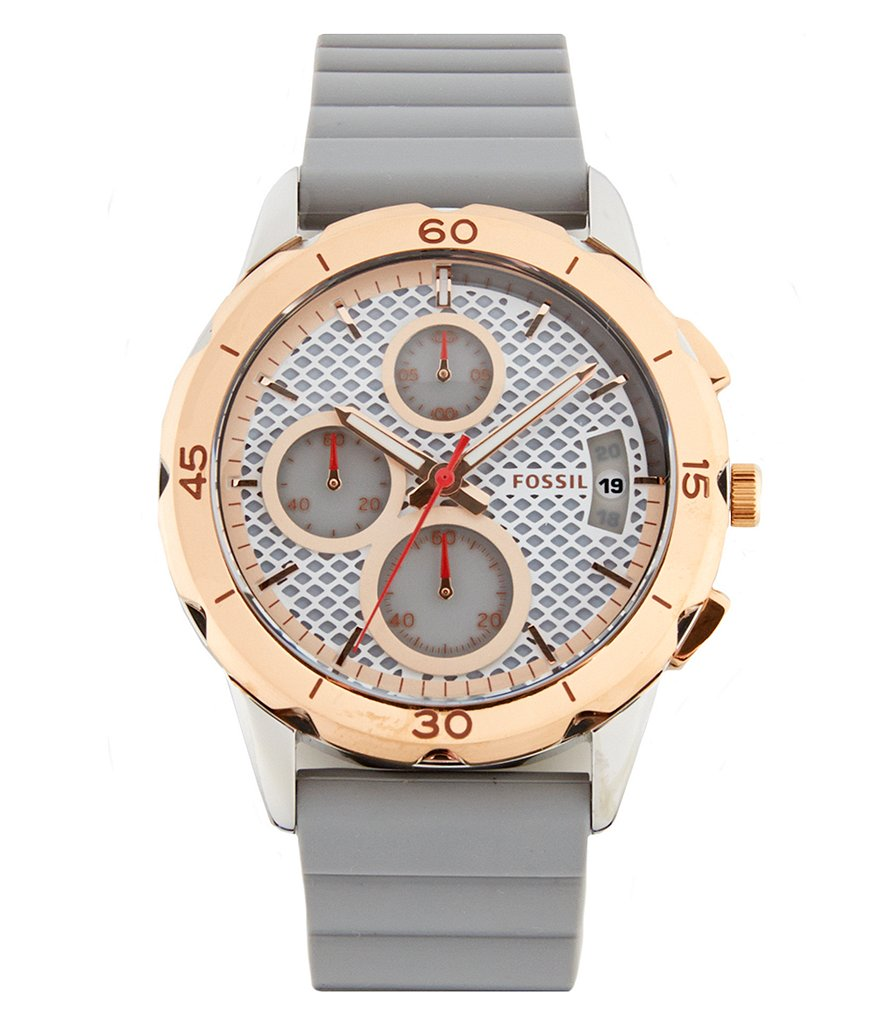 Fossil Modern Pursuit Chronograph & Date Silicone-Strap Watch