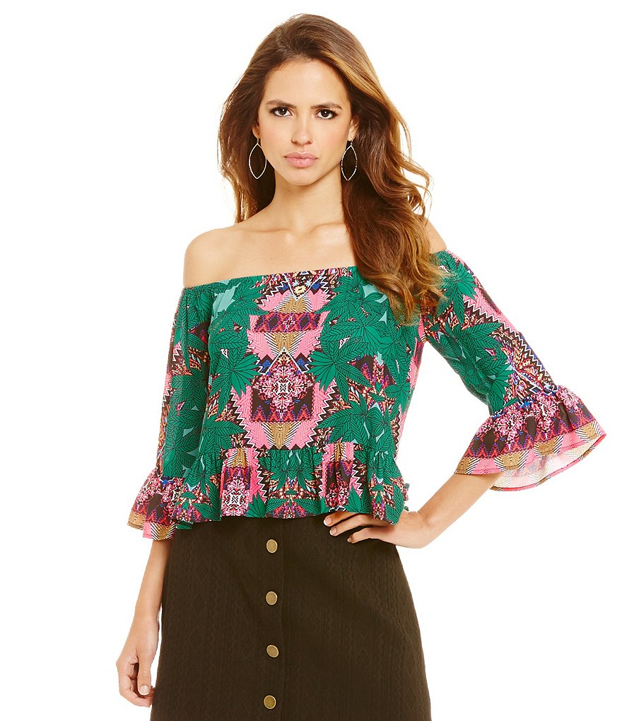 Gianni Bini Marie Palm Print Off-The-Shoulder Blouse