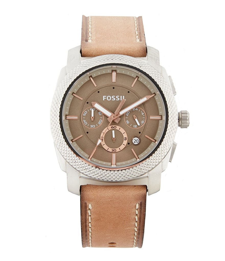 Fossil Machine Chronograph Leather Strap Watch