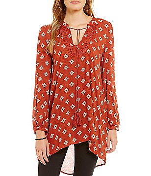Blu Pepper Printed Tassel Tie Tunic