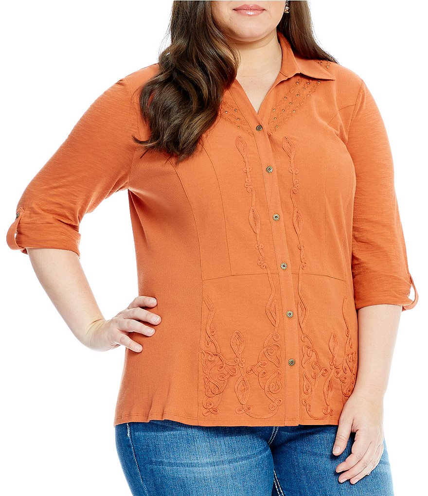 Reba Plus Mixed Media Button Front Roll-Tab Sleeve Top