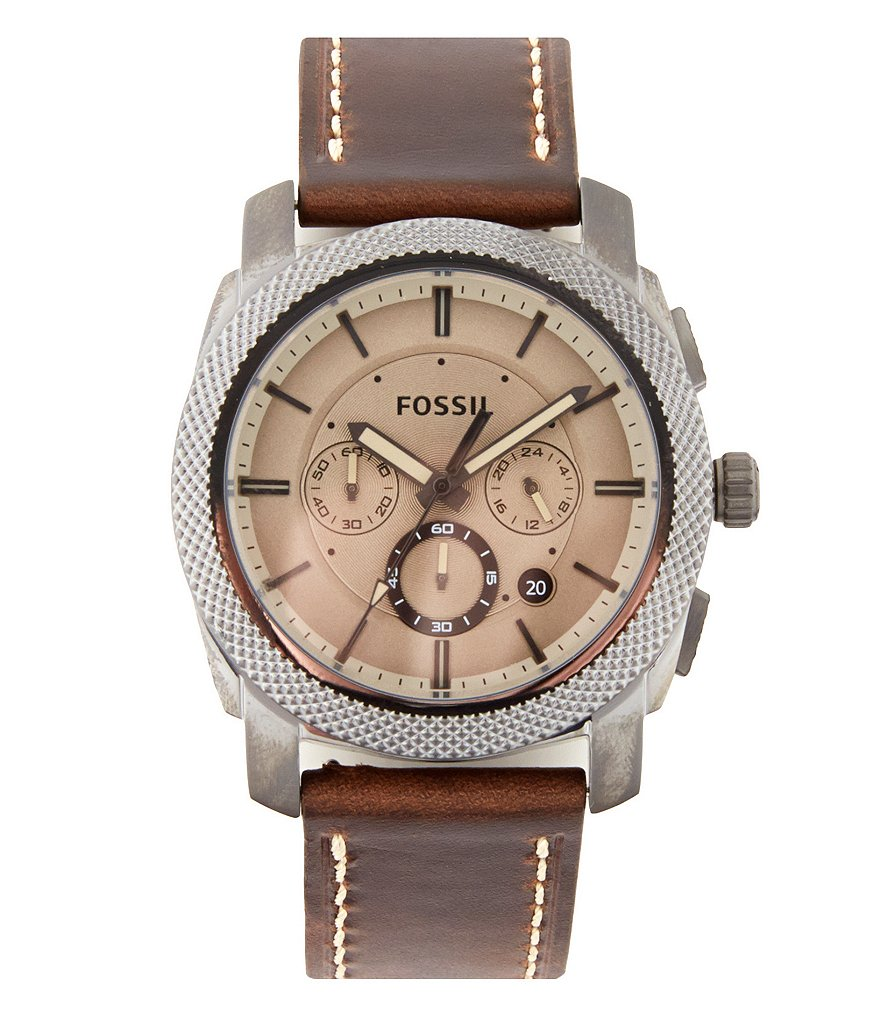 Fossil Machine Chronograph & Date Leather-Strap Watch
