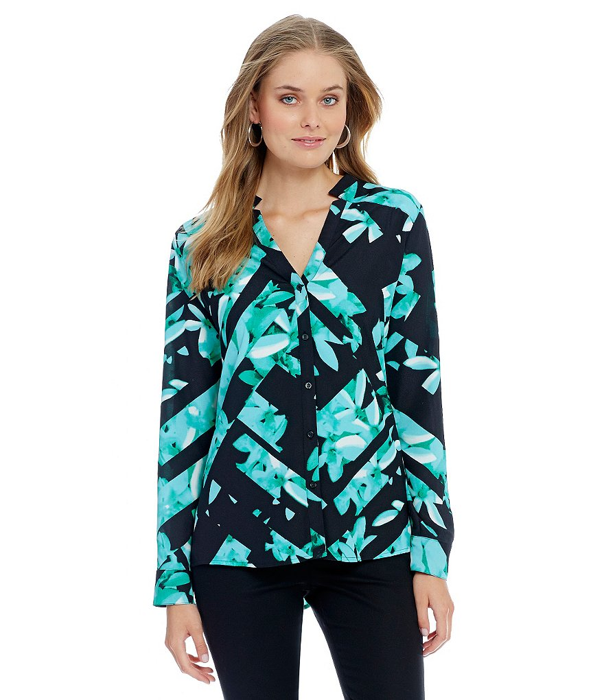 KARL LAGERFELD PARIS Cut-Out Floral Print V-Neck Blouse