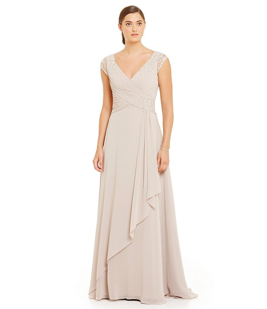 MGNY Madeline Gardner New York Chiffon Beaded Cap Sleeve Gown