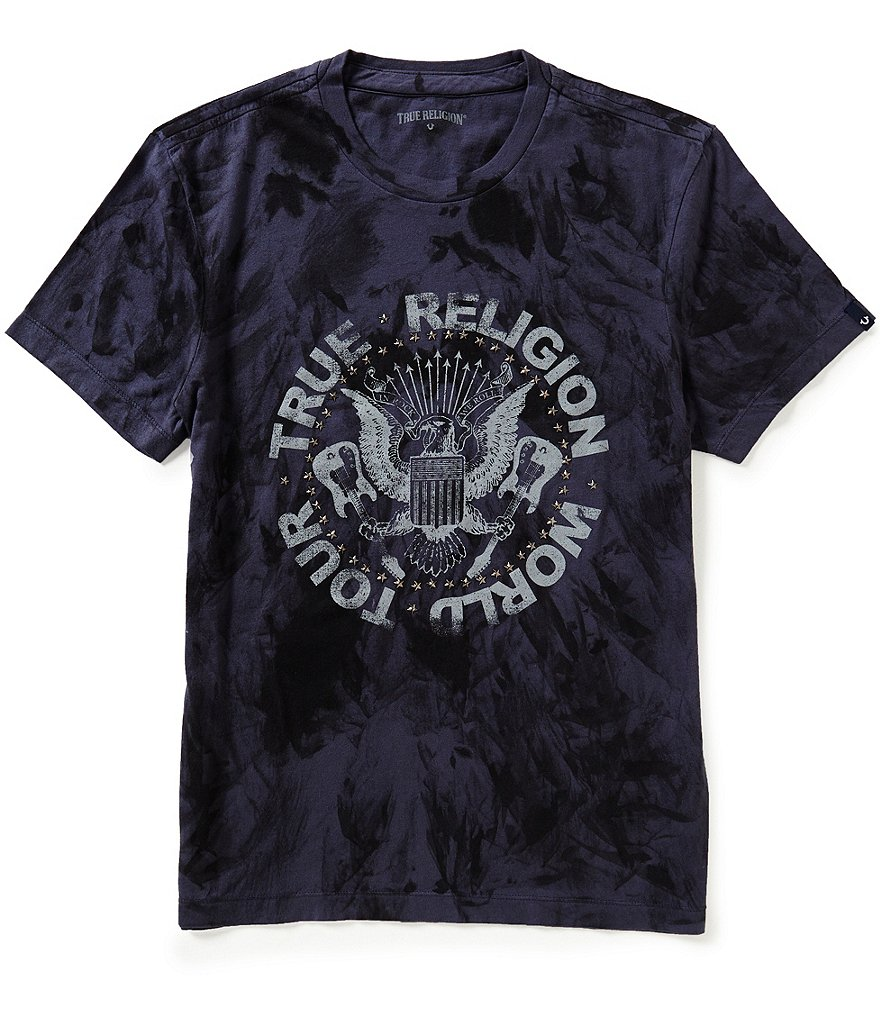 True Religion Short-Sleeve Tie-Dye Studded Graphic Tee