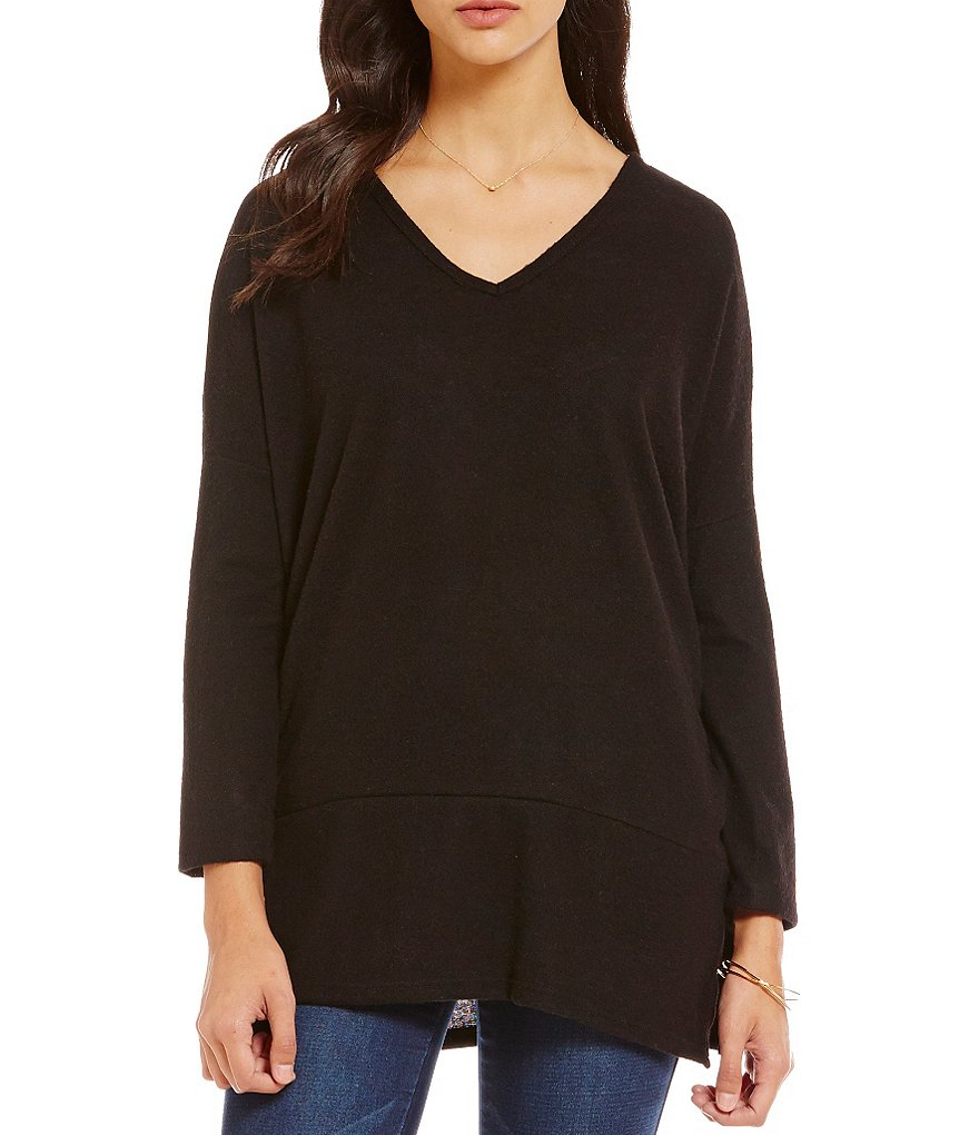 Moa Moa Brushed Dolman-Sleeve Sharkbite Top