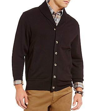 Cremieux Long-Sleeve Elbow-Patch Shawl Cardigan