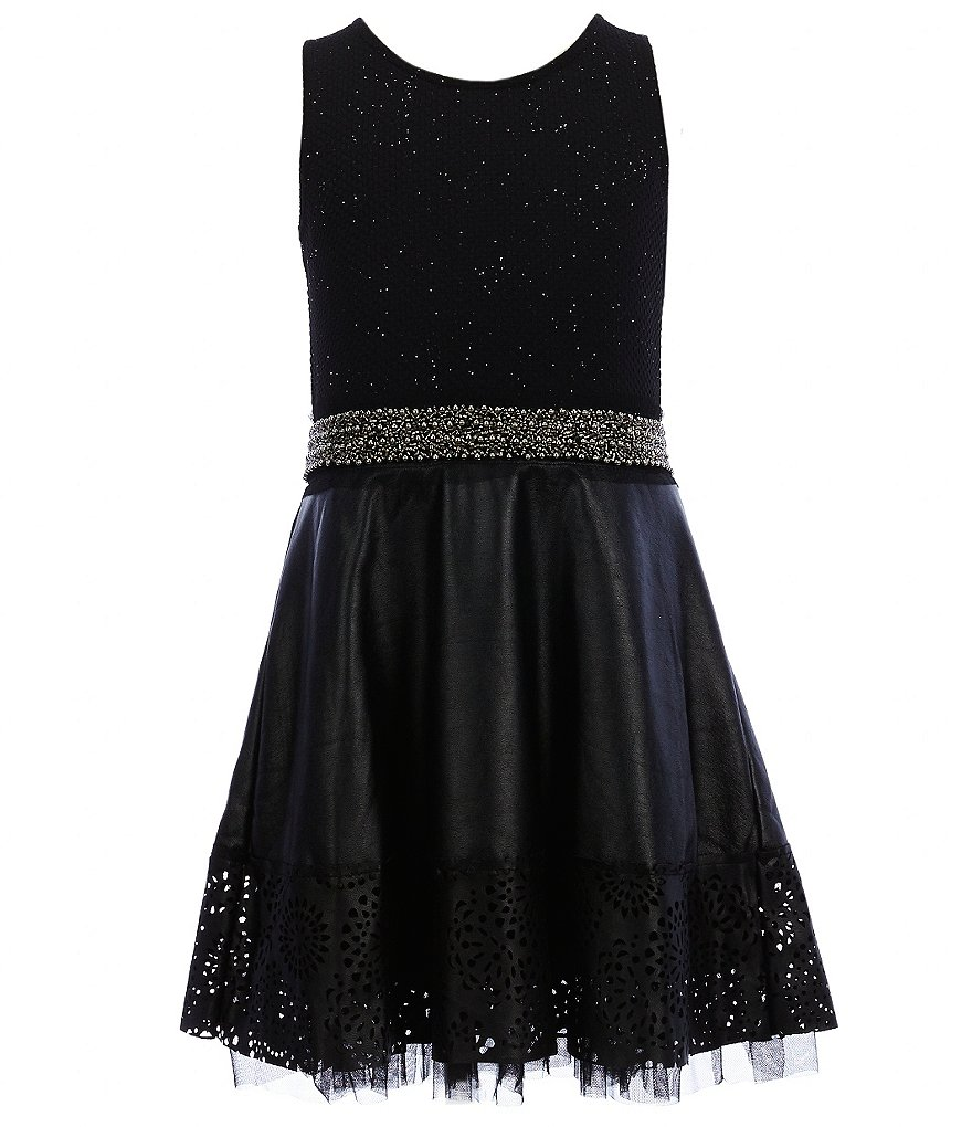 Hannah Banana Black Label Big Girls 7-16 Shimmer-Bodice Faux-Leather Skirt Skater Dress