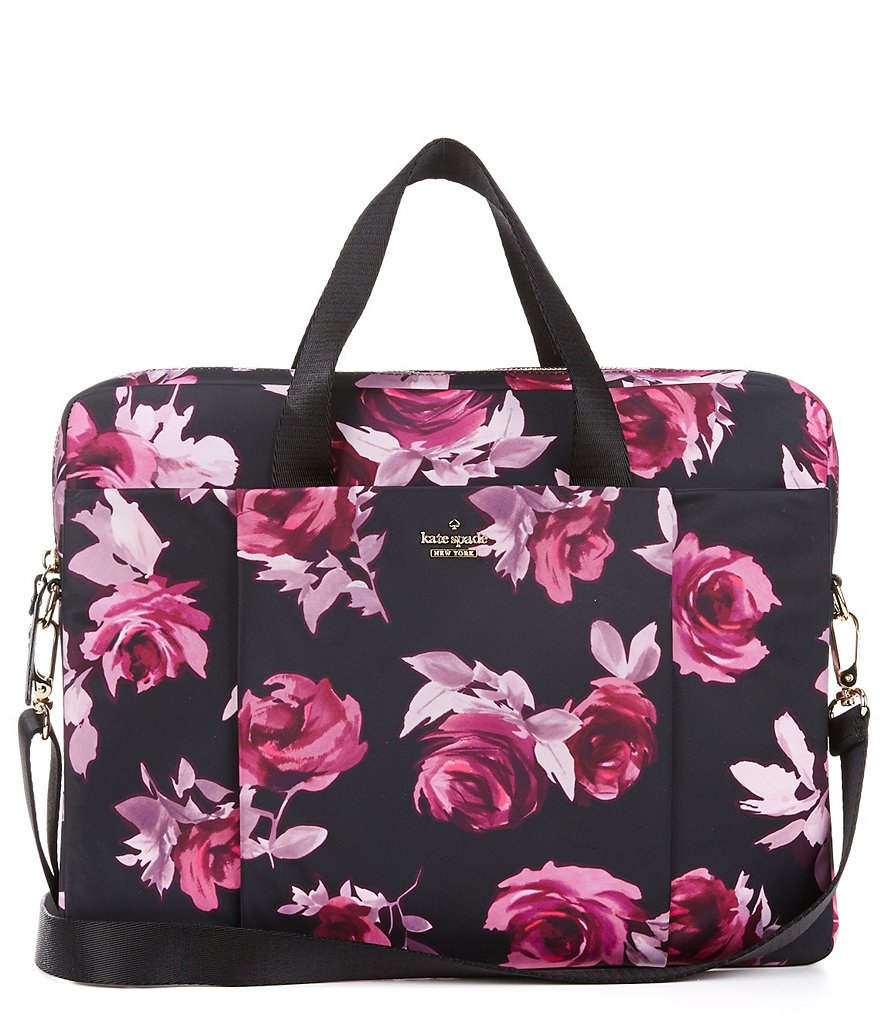 kate spade new york Rose-Print Classic Laptop Bag