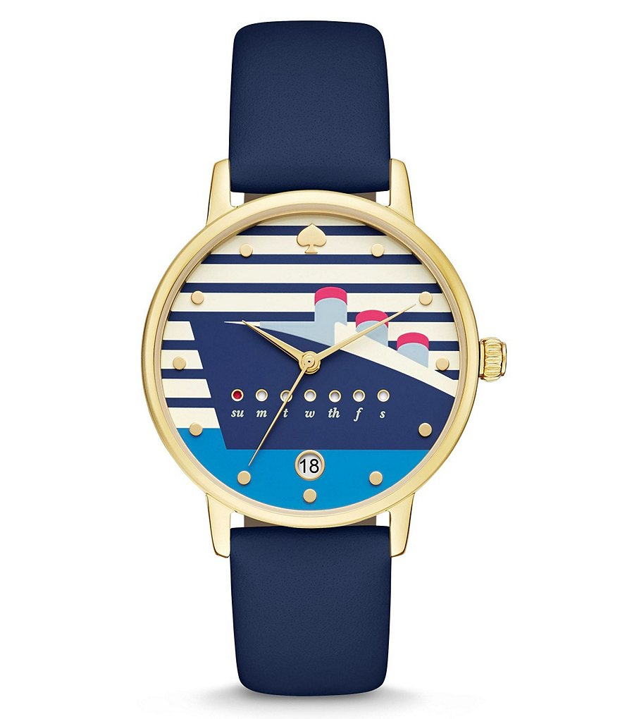 kate spade new york Metro Ship Analog, Day & Date Leather-Strap Watch