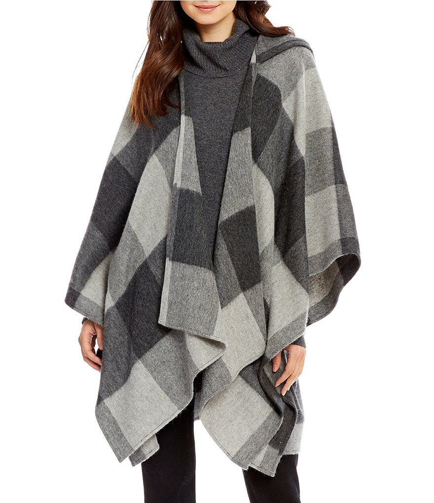 Dillard´s Checked Wool & Cashmere Hooded Ruana