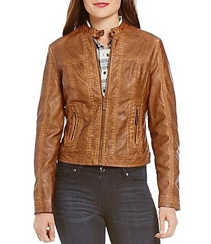 Indigo Saints Zip Front Pintuck Faux-Leather Jacket