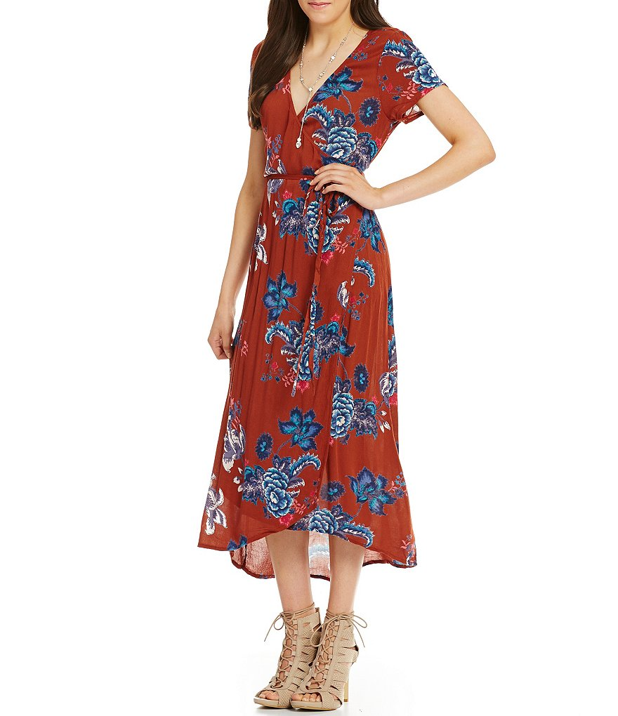 Billabong Wrap Me Up Floral-Print Midi Dress