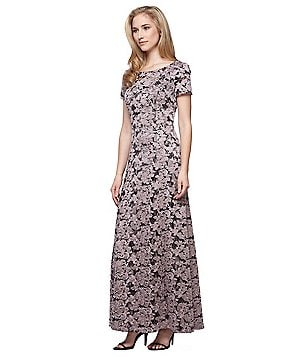 Alex Evenings A-Line Embroidered Gown