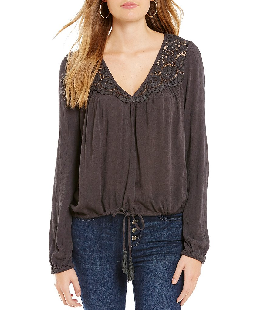 Billabong Sunny Eyes Lace-Inset Blouse