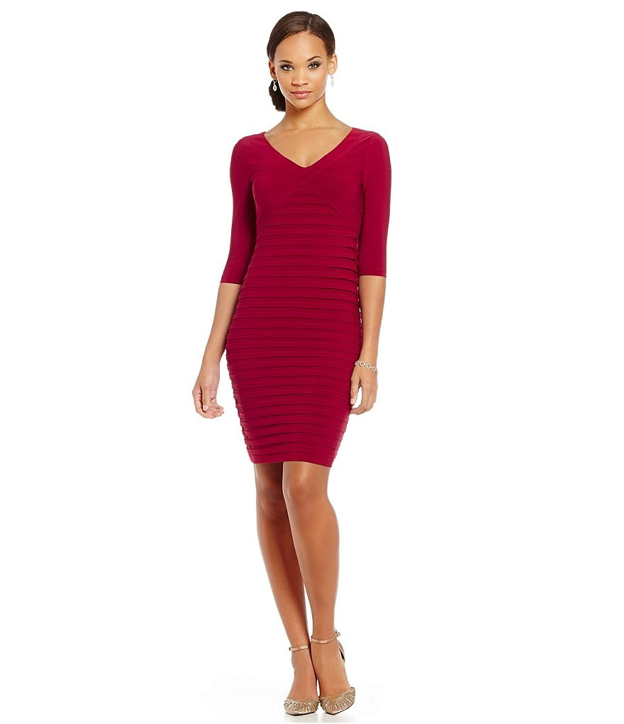 Adrianna Papell Petite 3/4-Sleeve Banded Sheath Dress