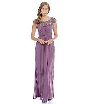 Decode 1.8 Beaded Cap Sleeve Chiffon Gown
