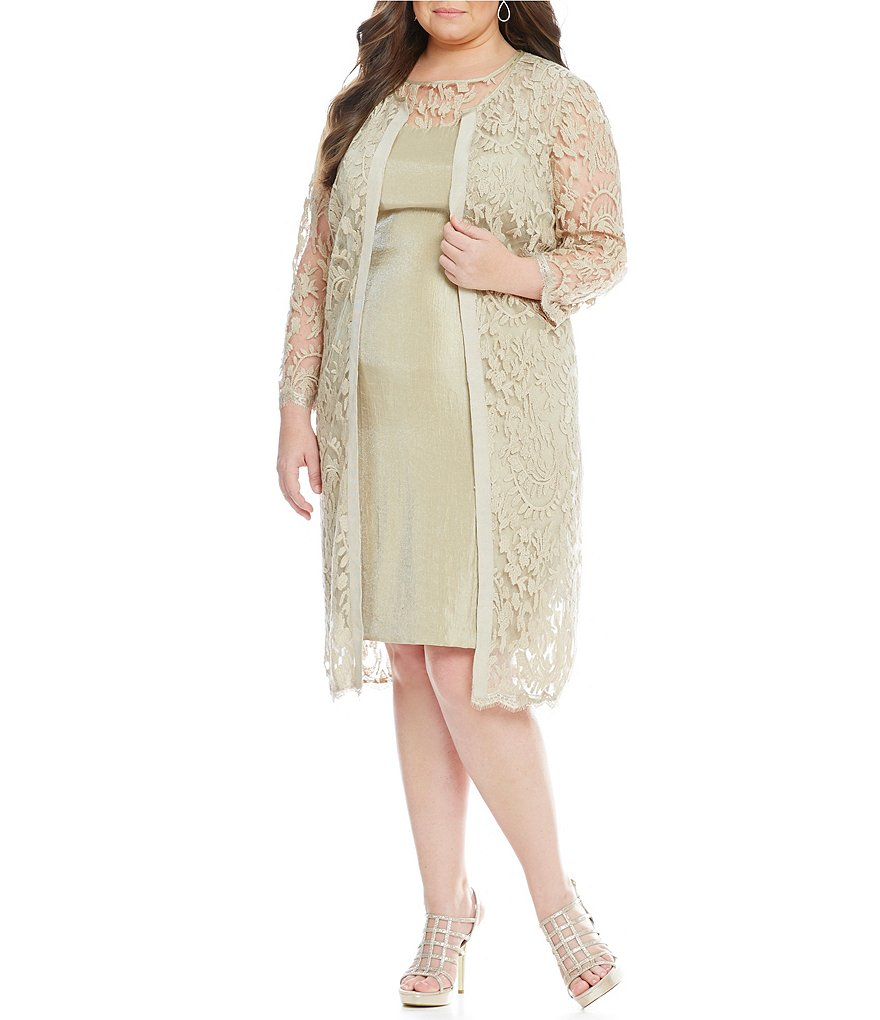 Adrianna Papell Plus Illusion Lace 2-Piece Jacket Dress