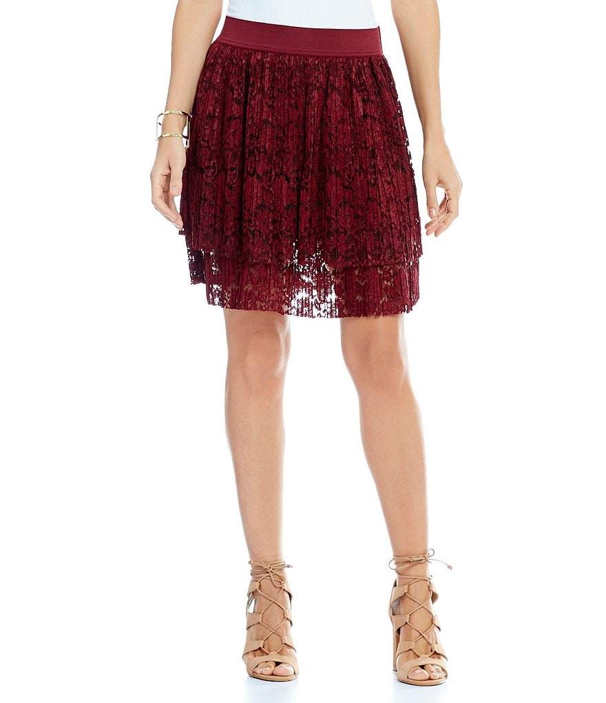 ECI Pleated Lace Mini Skirt