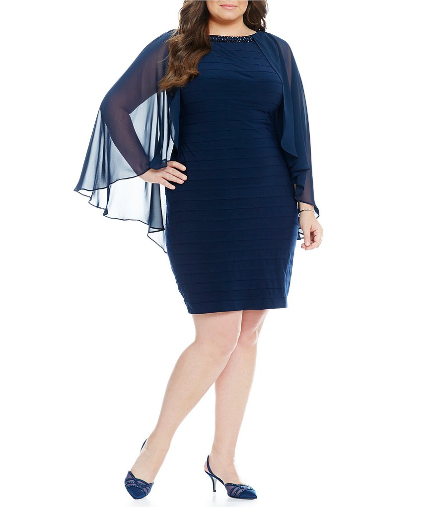 Adrianna Papell Plus Bead-Neck Chiffon-Sleeve Banded Dress