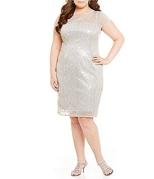 Adrianna Papell Plus Illusion Feather-Sequin Short Sleeve Sheath Dress