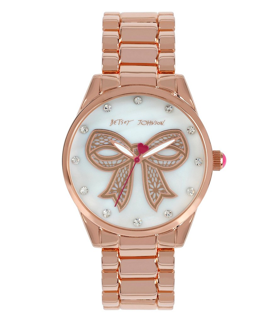 Betsey Johnson Mother-of-Pearl & Crystal Bow Analog Bracelet Watch