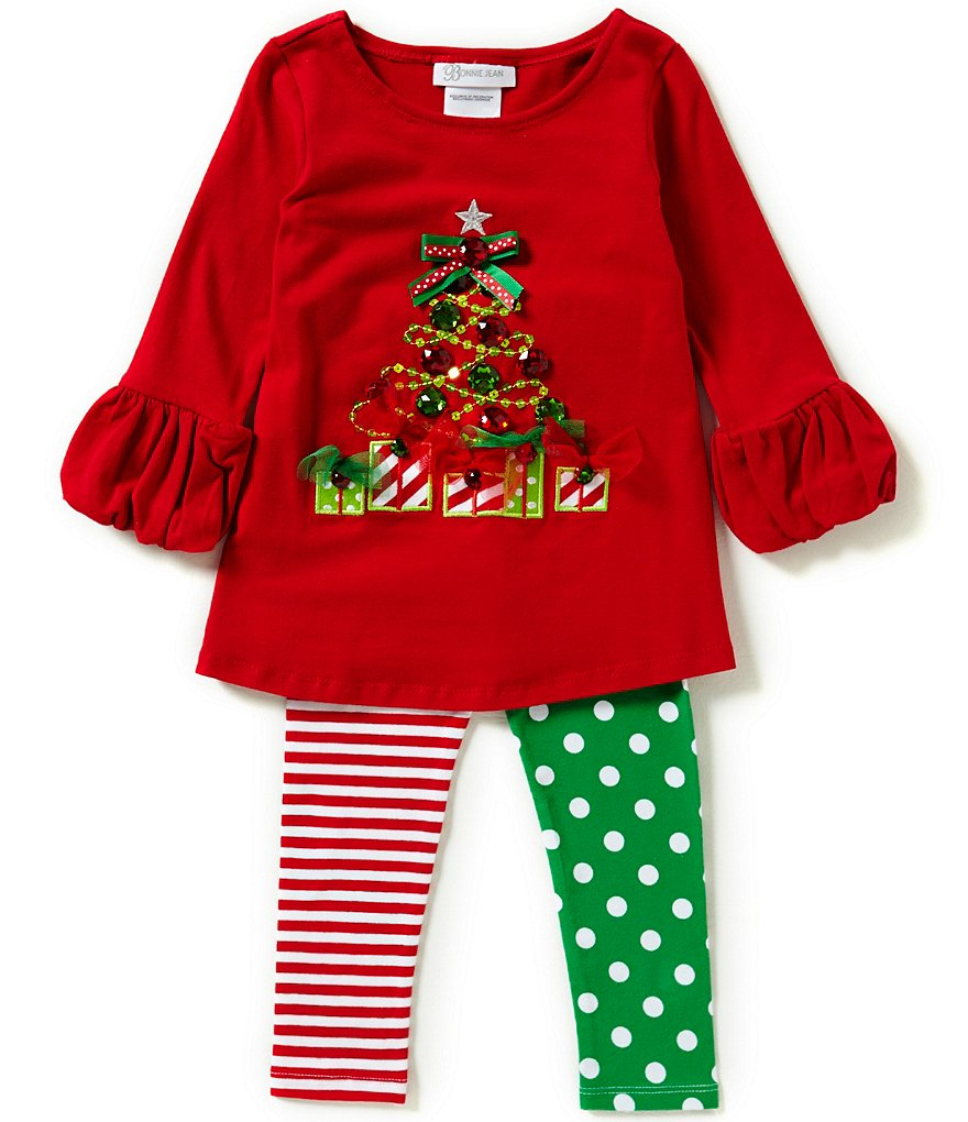 Bonnie Jean Little Girls 2T-6X Christmas Tree Top and Printed Pants Set
