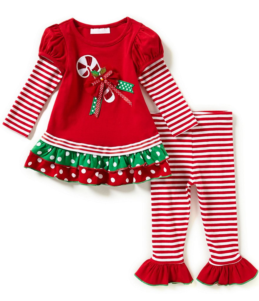 Bonnie Jean Little Girls 2T-6X Christmas Candy-Cane Top and Pants Set