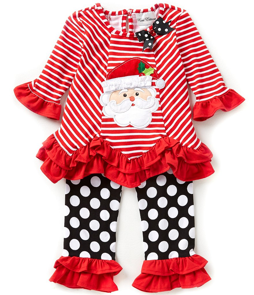 Rare Editions Little Girls 2T-6X Christmas Santa Top and Dotted Leggings Set