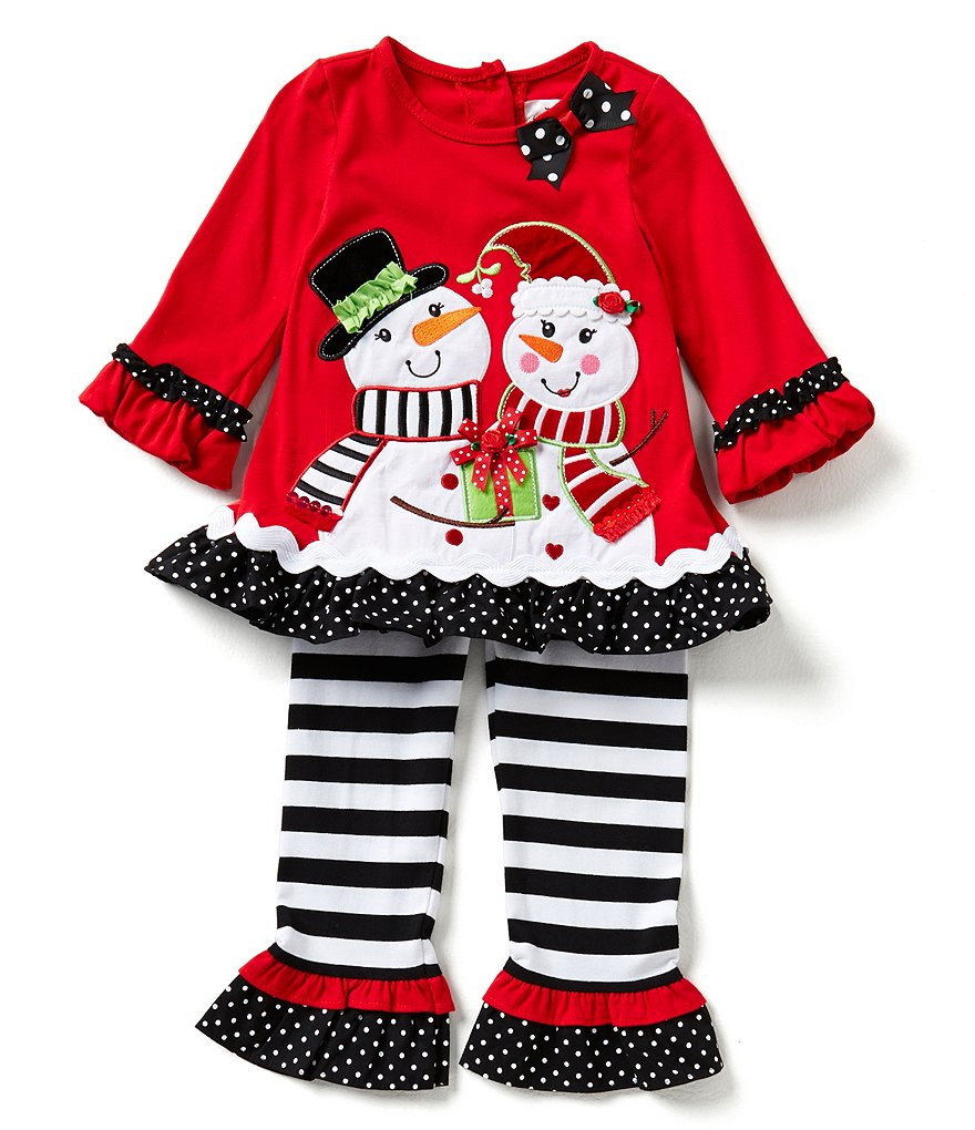 Rare Editions Little Girls 2T-6X Christmas Snowmen Buddies Top and Leggings Set