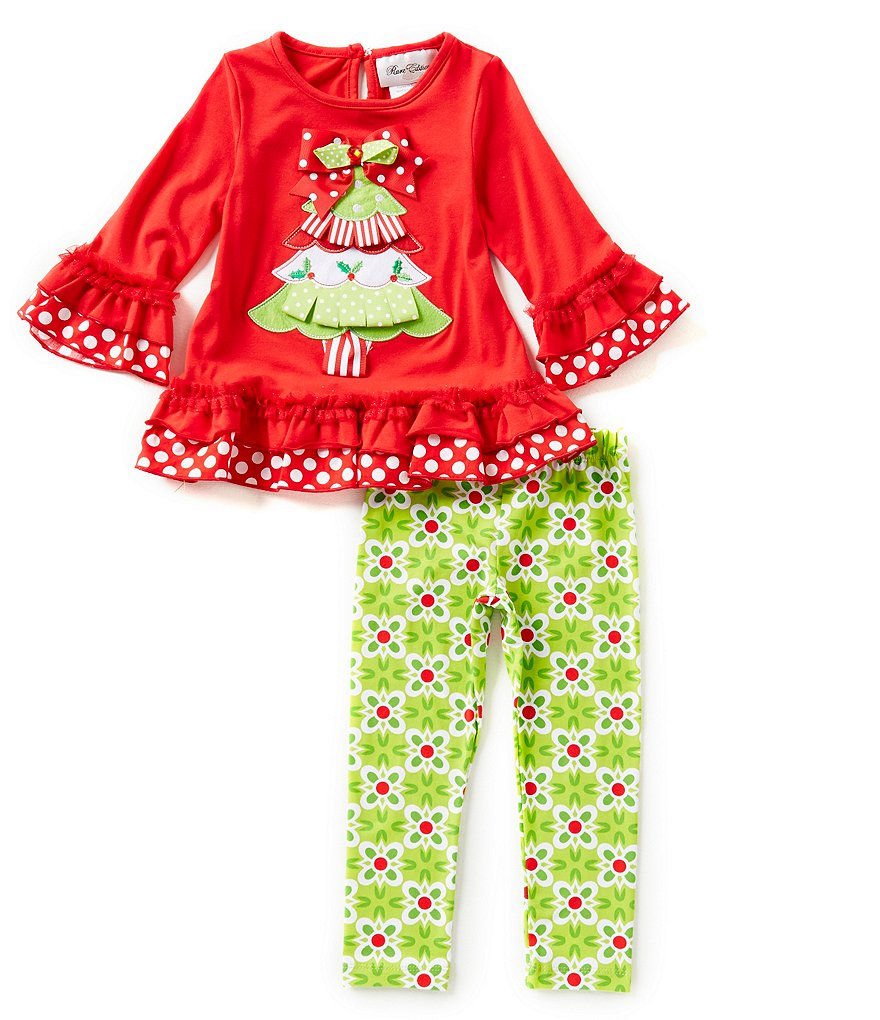 Rare Editions Little Girls 2T-6X Christmas Tree Top and Printed Leggings Set