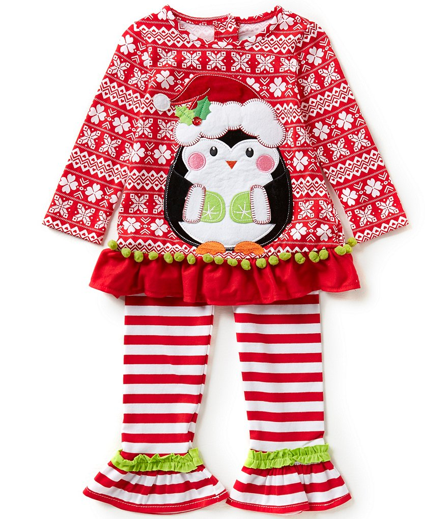 Rare Editions Little Girls 2T-6X Christmas Penguin Top and Leggings Set