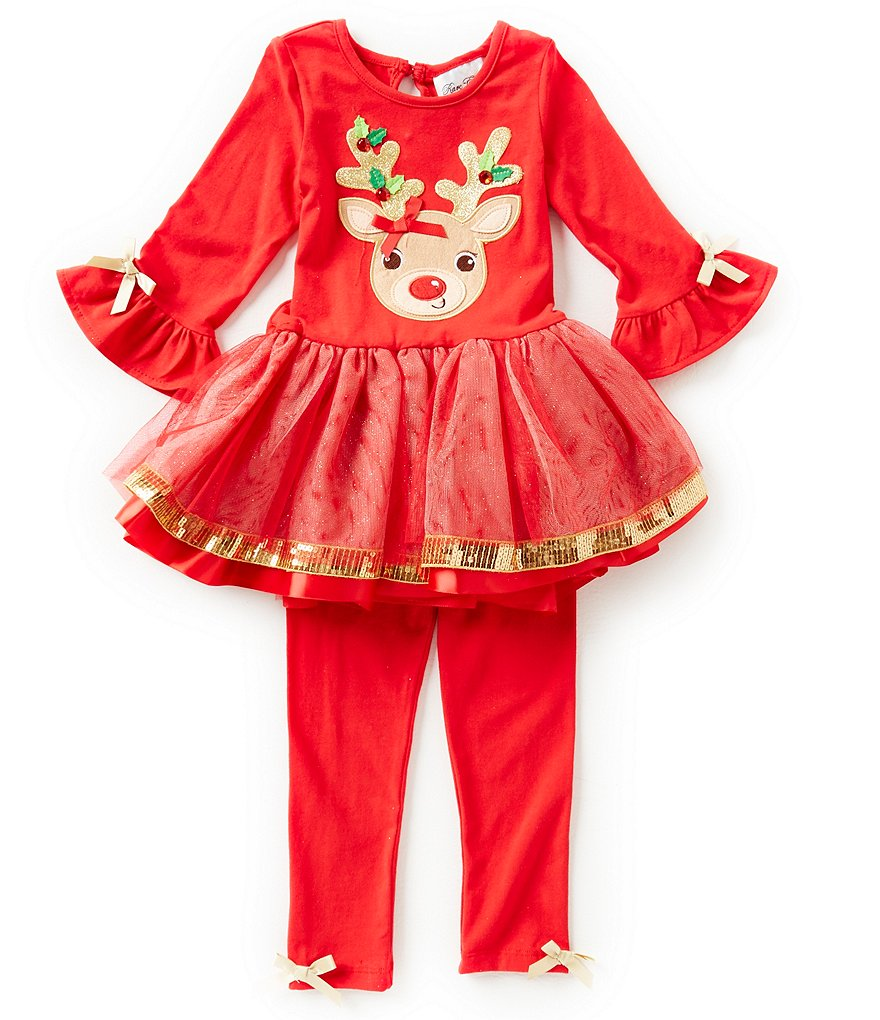 Rare Editions Little Girls 2T-6X Christmas Reindeer Dress and Leggings Set