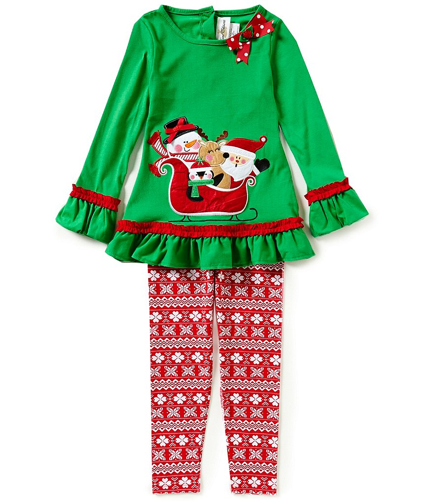 Rare Editions Little Girls 2T-6X Christmas Sleigh Top and Printed Leggings Set