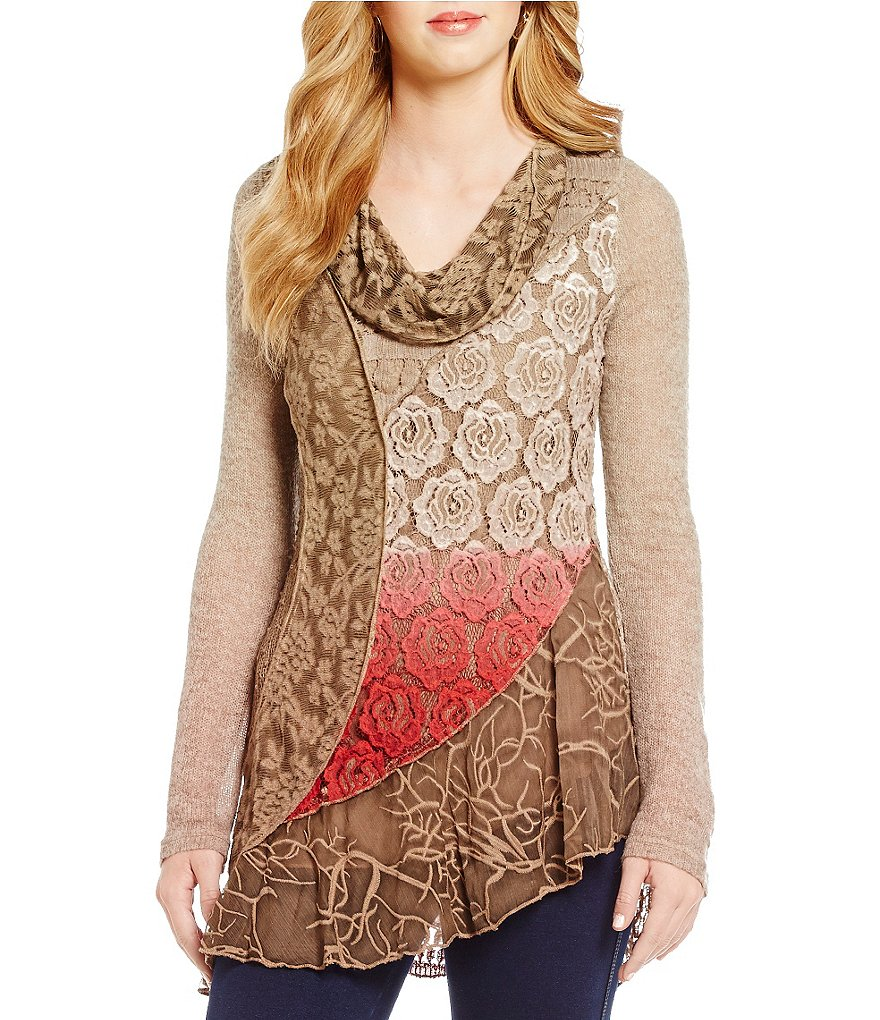 Paris Hues Mixed Media Cowl Neck Long Sleeve Tunic