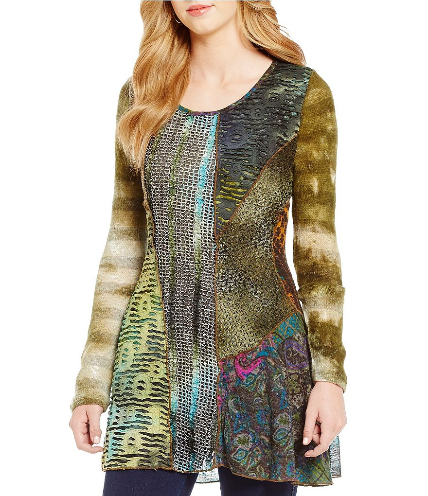 Paris Hues Mixed Media Crew Neck Long Sleeve Tunic