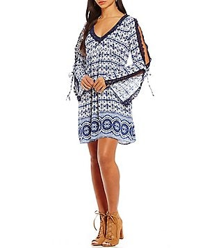 Roxy Wendi Printed Cold Shoulder Bell-Sleeve Shift Dress