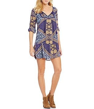 Roxy Lucky Blue Printed Woven Sheath Dress