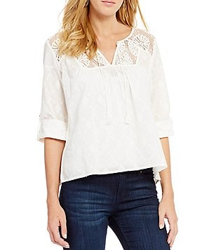 Roxy Lucky Blue Lace Yoke Top
